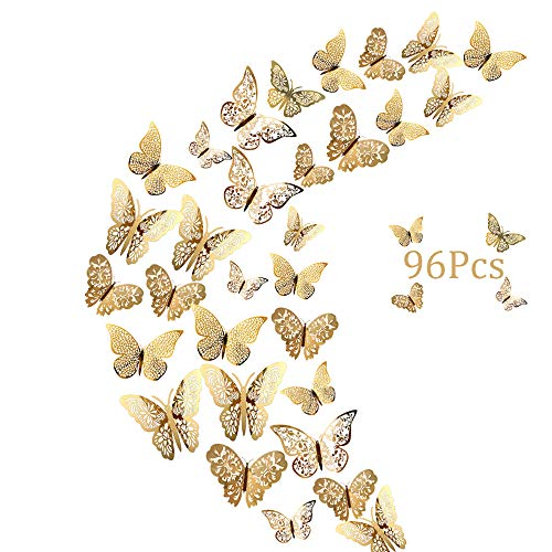 96er Deko Schmetterlinge Wanddeko Aufkleber Wandsticker Abziehbilder, Creatiees 3D Schmetterling Fliegen Dekorationen für Hauptdekorationen Raumdekoration Kinder Schlafzimmer Kindergarten Deko(Gold)