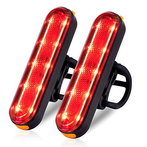 TANMORT Luz Trasera Bicicleta Recargable USB, Luz Bicicleta Impermeable IP64 con 7 Modos, Piloto Trasero Rojo Bici Potente LED de 120LM para Ciclismo de Carretera Montaña (Paquete de 2 Piezas)