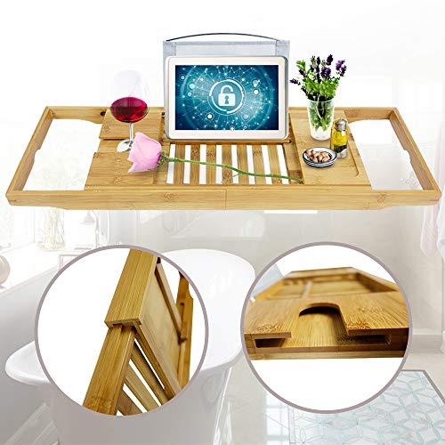 Aufun Badewannenablage aus Bambus längenverstellbare Badewannenbrett mit Weinglas-Halter, Klammertuch, Tablett für iPad Tablet iPhone Buch, Natur