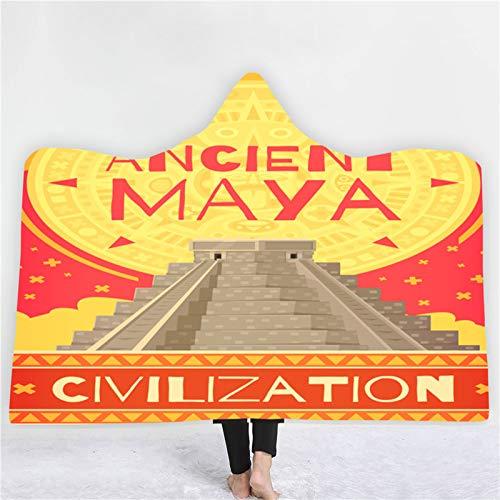 QPY Antigua Civilization Maya - Manta con capucha doble de felpa con capucha para abrigos con impresión de capa con capucha, bata de baño creativa de 1 a 200 x 150 cm