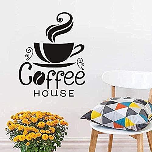 Pegatinas de pared Calcomanías de pared Taza de tatuaje Café al vapor Diseño creativo DIY Pizarra Café 34x44cm