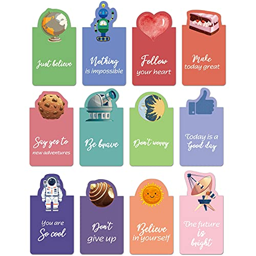 36 Pieces 3D Inspirational Magnetic Bookmarks Magnet Motivational Quotes Bookmark Magnetic Positive Page Markers 3D Colorful Page Clips for Women Men Kids Students Reading, 3.2 x 1.2 Inch, 12 Styles
