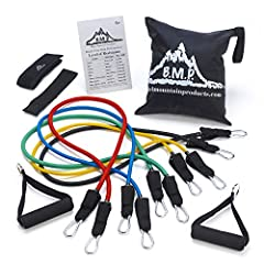 Bands included: Yellow (2-4 lbs.), blue (4-6 lbs.), green (10-12 lbs.), black (15-20 lbs.) and Red (25-30 lbs.). All bands are 48 inches in length This stackable set of resistance bands can produce up to 75 lbs Features a metal clipping System on ban...