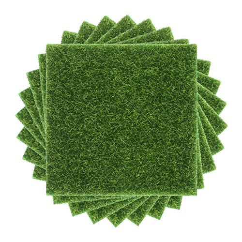 Chudian 8 Pezzi Mini Erba Artificiale15x15cm Tappeto in Erba Sintetica Giardino in Miniature Erba Decorazione Tappeto Erboso Sintatico per Fai da Te Ornamento del Giardino