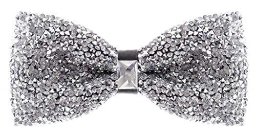 Silver Rhinestone Bowtie for Men - …