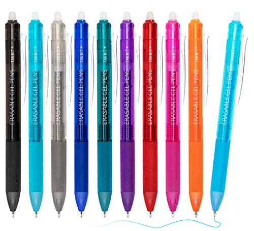 Erasable Pens, Retractable Erasable Gel Pen Clicker, 10 Colors Fine Point Gel Ink Pen for Writing, Planners, Taking Note