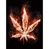 Wee Blue Coo Painting Marijuana Leaf Flames FIRE Weed COOL