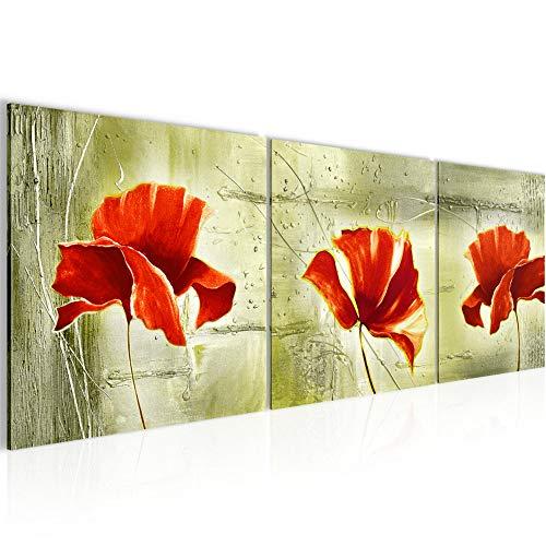 Runa Art - Pintura Amapolas 120 x 40 cm Cuadro in Lienzo no Tejido Verde Rojo Varias Partes Moderno Decoración de Pared 201133c