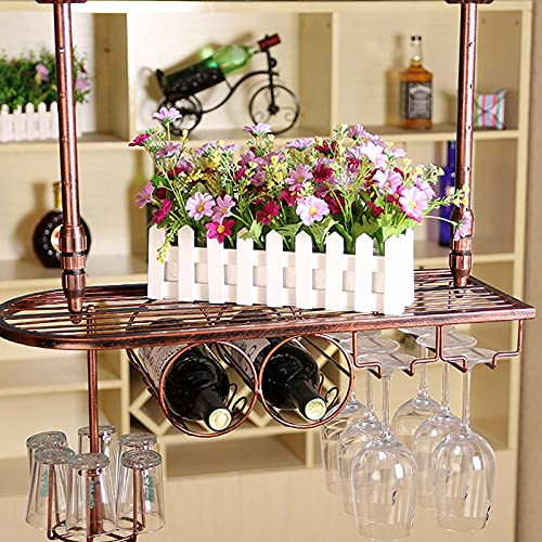 botellero Vino Estante para Vino Colgante Creativo, Percha para Copas de Vino de Hierro, Soporte para Vino para Copa Al Revés, Estante para Almacenamiento de Vino para Bar
