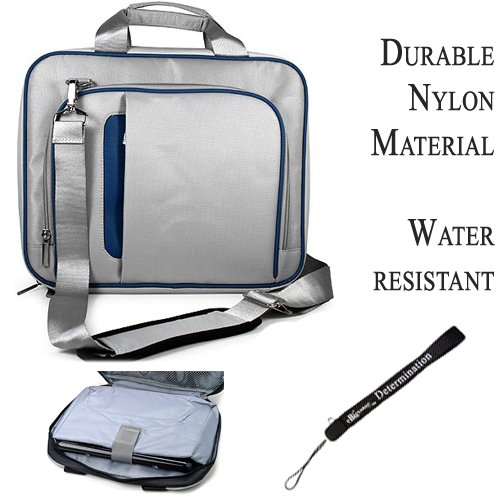 Blue Silver Travel Smart Carrying Case with Optional Adjustable Shoulder Strap, Airport Check Point Friendly, for Asus Eee Slate EP121 Notebook 12.1 inch Screen