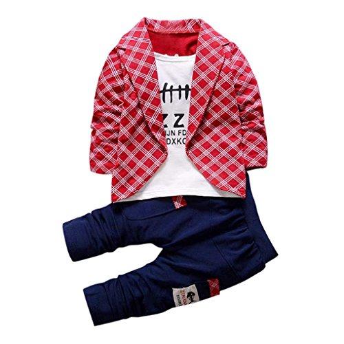 JERFER Bekleidungssets Kleinkind Baby Jungen Kinder Shirt Tops + Lange Hosen Kleidung Outfits 2PCS Set 1-4 Jahre (Rot, 4T)