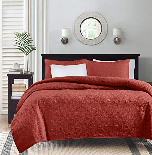 Vancouver Quilted Coverlet Set (Full/Queen) Red - 3-Piece