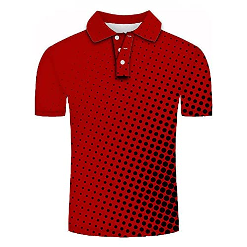 GXRGXR 3D Printed Polo Shirts - Creative Lapel Button Short Sleeve Breathable Shirt -Summer Unisex Abstract Round Hole Graphic Sport Plus Size T-Shirt for Men Women Tee Top,Red,4XL