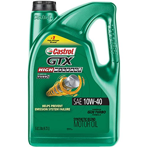 Castrol 03111 GTX High Mileage 10W-40 Synthetic Blend Motor Oil,...