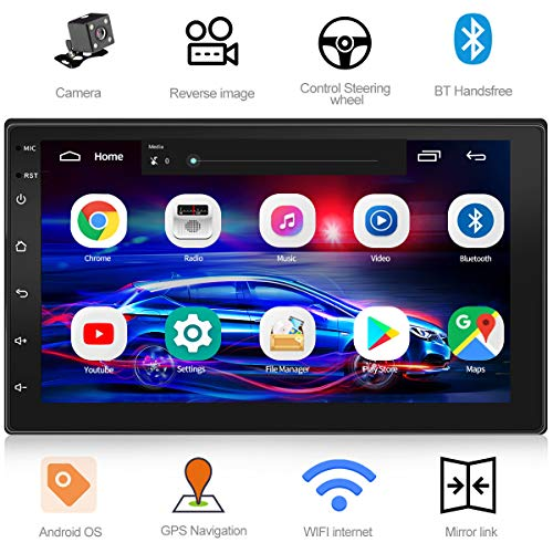 WZTO Double Din Car Stereo with GPS Navigation,7 inch Quad-Core Android 9.1 Touch Screen in Dash Navigation Car Radio Video Player with Bluetooth GPS WiFi Mirror Link Multimedia(1G RAM+16G ROM)