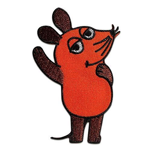 Parches - ratón Sendung mit der Maus niños - naranja - 9x5,5cm - termoadhesivos bordados aplique para ropa