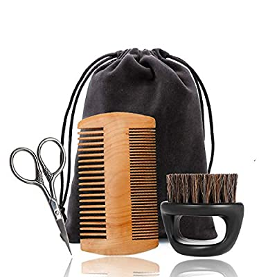 IXIGER Beard Grooming Kit 3 in 1 includes Firm Boar Bristles Brush, Beard Comb, Mustache Scissors, Travel Pouch for Men Beard Care Tool Set Works with All Beard Oils & Beard Balms