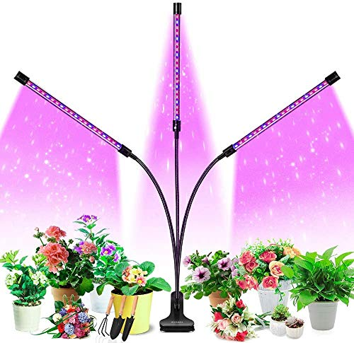 Grow Light,LED Grow Lamp for Indoor Plants Seed Starting Full Spectrum Flexible Gooseneck Head Clip Kit Bonsai Vegetable Succulent Auto on/Off 3Timer 3h/9h/12h with 9 Dimmable Levels (3 Lights)