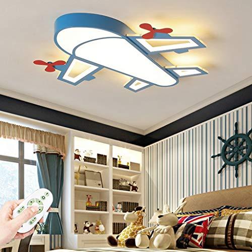 LED Habitación Para Niños Dormitorio Lámpara De Techo Niños De Dibujos Animados Luz Azul Aviones Lámparas De Araña Iluminación De La Habitación De Los Niños Lámparas Para Con Control Remoto,50cm 36W