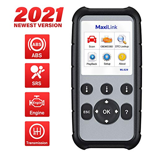 Autel MaxiLink ML629 Automotive OBD2 Scanner, 2021 Newest Model Upgraded of AL619, ML619, Car Code Reader Check Engine ABS SRS Transmission Diagnostic Scan Tool with Auto VIN, Ready Test, DTC Lookup