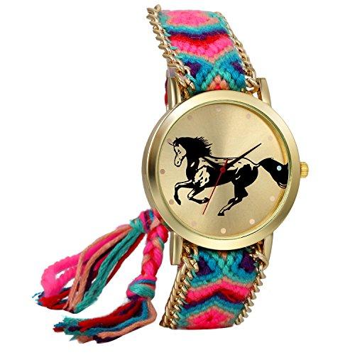 JewelryWe Boho Reloj De Pulsera Étnica De Mujeres, Azul Rosa Cuerda De Tela Tejida, Reloj Trenzado De Hilos Ajustable, Patrón de Caballo, Regalo para el Dia de la Madre, Regalo para Chica