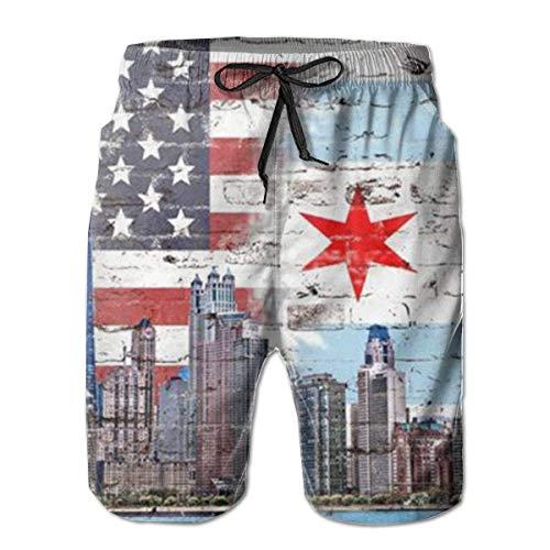 First Ring Costumi da Bagno Primo Anello Skyline Americano Chicago State City Bandiera Pantaloncini da Spiaggia Uomo Costume da Bagno Costume da Bagno-Grande-,