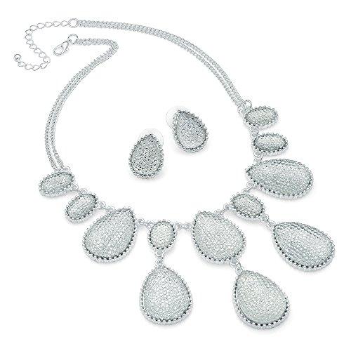 Silver Colour Bead 40cm Chain Necklace & 2cm Earring Set