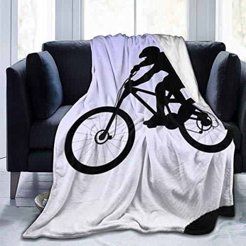 Lsjuee Manta de Lana de Franela para Ciclismo de montaña, Ultra Suave, Acogedor, cálido, de Microfibra Liviana para el hogar & Pound; & uml; 3 tamaños & Pound; Negro