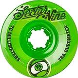 Sector 9 Top Shelf Nine Balls Skateboard Wheel, Green, 70mm 78A (Pack...
