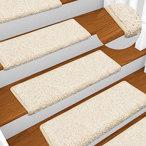 UnfadeMemory 15 pcs Teppich-Treppenstufen Treppenmatten Nadelvlies Stufenmatten Rechteckig Treppen-Teppich mit Doppelseitigen Klebebändern 65 x 25 cm (Weiß)