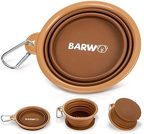 BARWO Collapsible Dog Bowl with Non Skid Suction Cup Base 100 Pure Silicone Dishwasher Safe product image
