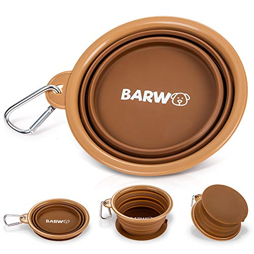 BARWO Collapsible Dog Bowl with Non-Skid-Suction Cup Base – Dishwasher Safe Portable Silicone Dog Bowl for Travel, Hiking and Camping -1 Piece Brown