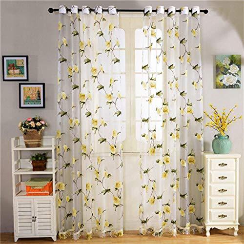 PENVEAT Floral Window Tüll Vorhänge für Wohnzimmer Schlafzimmer Gardinen für die Küche Fertige Tüll Vorhänge für Fenster Vorhänge, gelb, B500cm x L250cm, 3 Pull Plissee