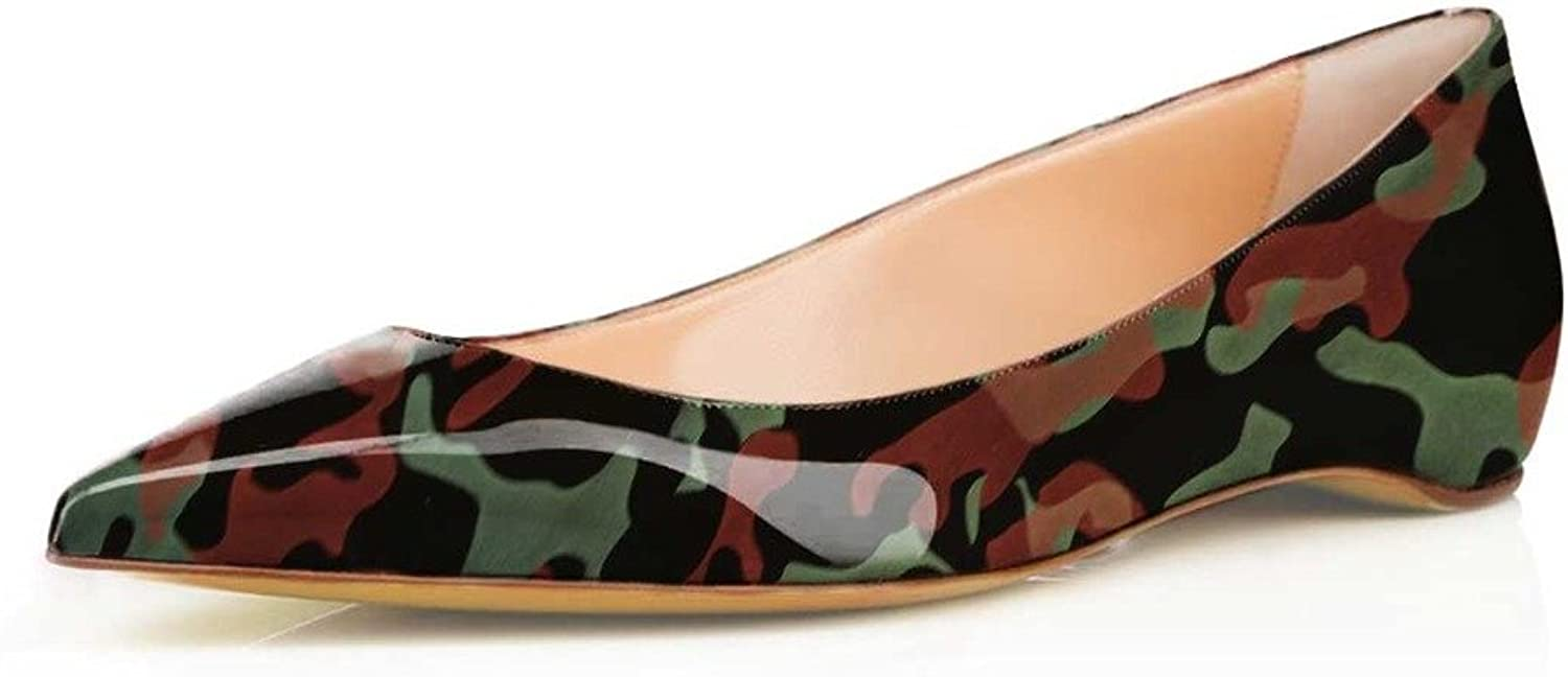 FSJ Comfortable Women Pointed Toe Flat shoes with Camouflage Print Slip on Pumps Size 4-15 US