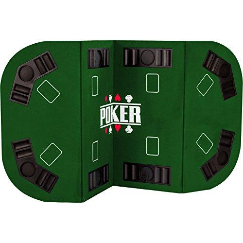"""Maxstore Faltbare Pokerauflage """"Straight"""" für bis zu 8 Spieler, Maße 160x80 cm, MDF Platte, 8 Getränkehalter, 8 Chiptrays, grün"""