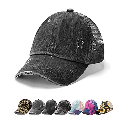 Bocianelli NeuFashion Ponycap Messy High Bun Ponytail Adjustable Mesh Trucker Baseball Cap Hat