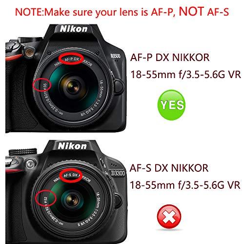 Tapa para Lente de 55 mm para Nikon D3500 D5600 con AF-P 18-55 mm ...