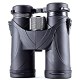 Shykey Binoculares Impermeables De Alta Potencia 10X42 HD, Telescopio Portátil BAK7 con Visión Nocturna Baja, para Observación De Aves, Caza Y Viajes,Negro,8X