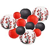 Just Artifacts 12pcs Cherry Blossom Decorative Assorted Hanging Japanese/Chinese Round Sakura Paper Lanterns (Color: Spring Soiree)