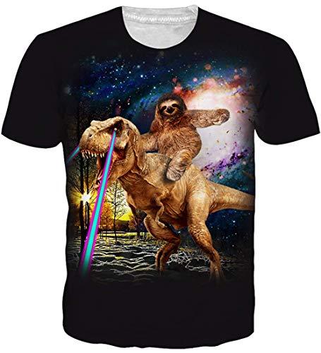 Loveternal Dinosaurier T-Shirt Unisex 3D Druck Shirt Coole Tees Neuheit Casual Sommer Bunt Shirt L
