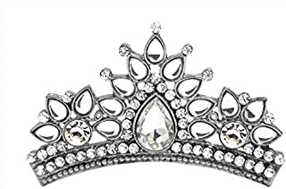 storeindya Tiara Crown Fashion Gifts for Women Jewelry Head Gear for Girls Prom Queen Bridal Pageant Birthday Princess Headband Gold Diamonds Comb Pin Rhinestone Faux Crystal (White Silver)