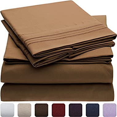 Mellanni Bed Sheet Set - Brushed Microfiber 1800 Bedding - Wrinkle, Fade, Stain Resistant - Hypoallergenic - 4 Piece (Queen, Mocha)