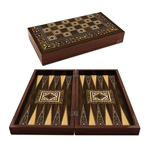 WYFX Juego de Backgammon Antiguo de Mosaico, Juego de Tablero de Madera...
