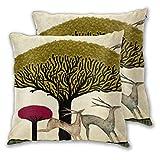 Juego de 2 Fundas de Almohada Retro Elk Deer Tree Throw Pillow Fundas Conchas para sofá Oficina Dormitorio Decoración del hogar 45 * 45cm