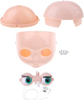 Fityle Doll Head Scalp Shell & 4 Colors Eyes Chips Mechanism Whole Set for Neo Blythe Takara DIY Custom Accessories