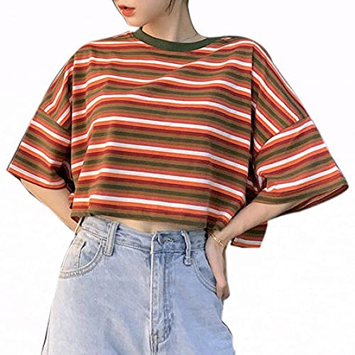 Cuello Redondo Camisetas Mujer Cortas De Ombligo Mujer Manga Corta Camiseta Deporte Mujer Corta con Rayas De Colores Camiseta De Ombligo S