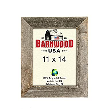 BarnwoodUSA Rustic 11 by 14 Inch Picture Frame with 1 5/8 Inch Wide Molding - 100% Reclaimed Wood, Weathered Gray