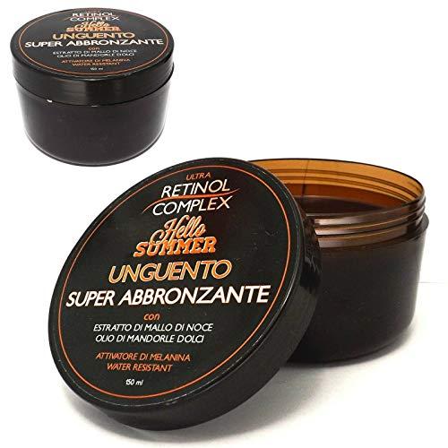 Retinol Complex–Crema super bronceadora con extracto de cáscara de nuez y aceite de almendras dulces, activadora de melanina y resistente al agua.150 ml.