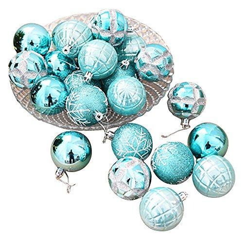 FeiliandaJJ 6CM Eine Schachtel mit 24 Anhänger Christbaumkugeln Dekorationen Kugeln Party Hochzeit Weihnachten Deko Weihnachtskugeln Ornament (Blau)