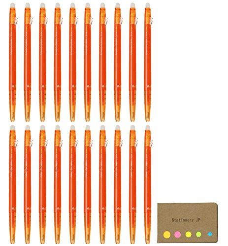 パイロット フリクションボール スリム 038 消せるゲルインクペン 極細 0.38mm オレンジインク LFBS-18UF-O 20パック 付箋バリューセット